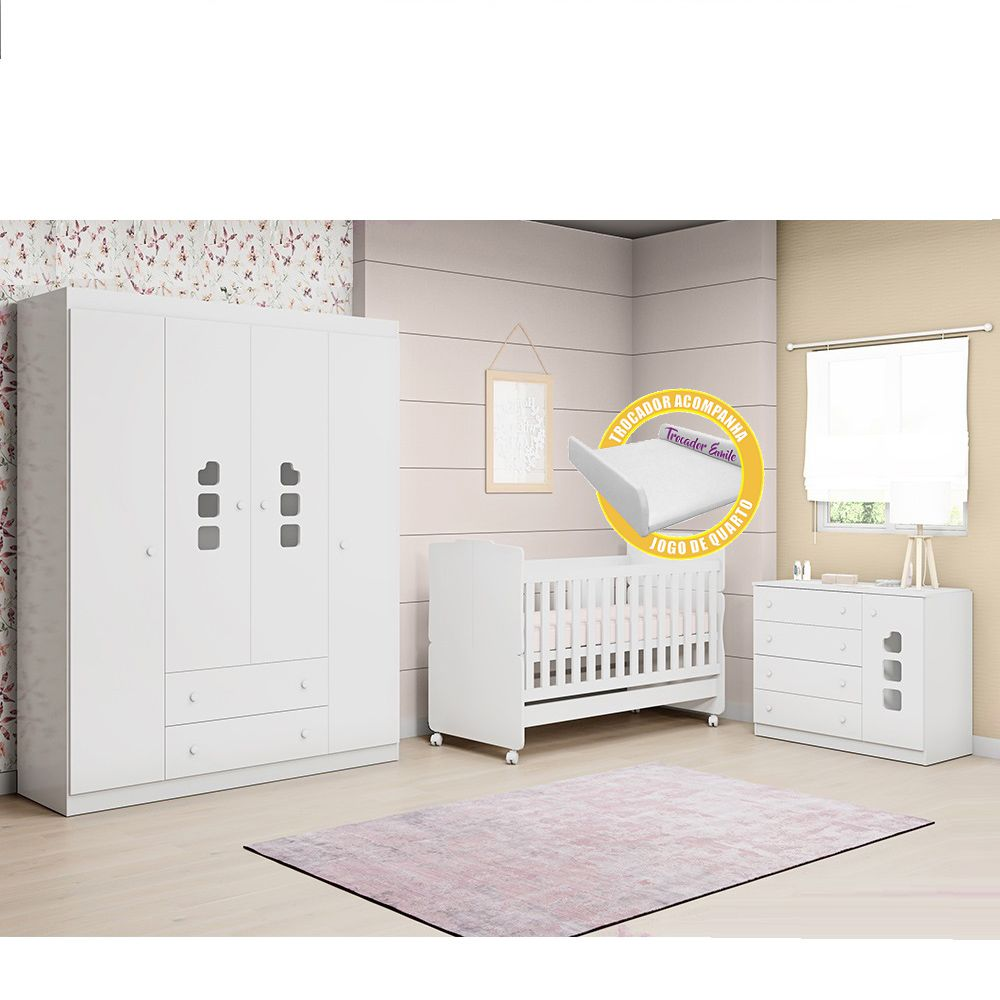 Quarto de Bebê Lívia com Guarda Roupa 04 Portas + Cômoda + Berço Mini Cama 230 + Trocador - Phoenix Baby