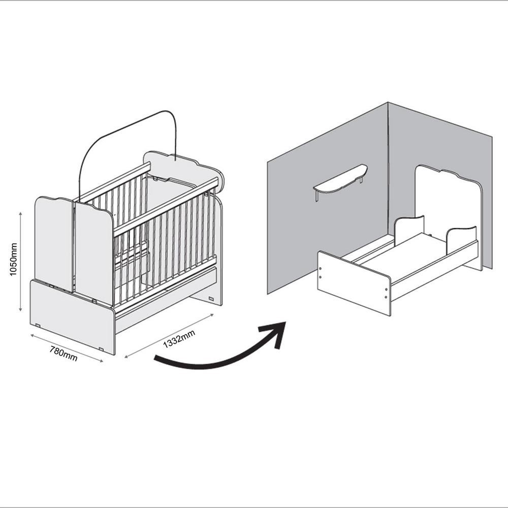 Quarto De Bebê Lívia Com Guarda Roupa 04 Portas, Cômoda E Berço Mini Cama 230 - Phoenix Baby