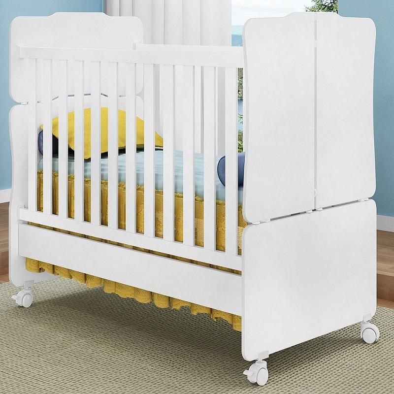 Quarto De Bebê Lívia Com Guarda Roupa 04 Portas + Cômoda + Berço Mini Cama - Phoenix Baby