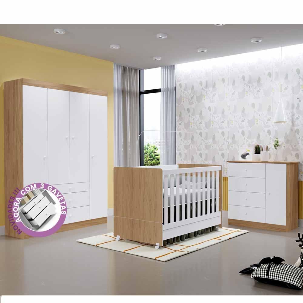 Quarto de Bebê New Helena com Guarda Roupa 4 Portas 3 Gavetas + Cômoda + Berço Mini Cama – EM Moveis
