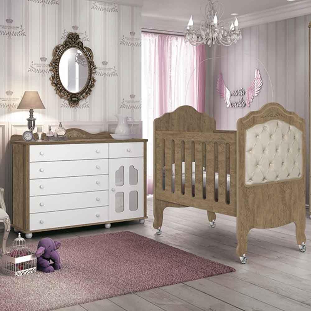 Quarto de Bebê Provence Com Cômoda + Berço Mini Cama - Planet Baby