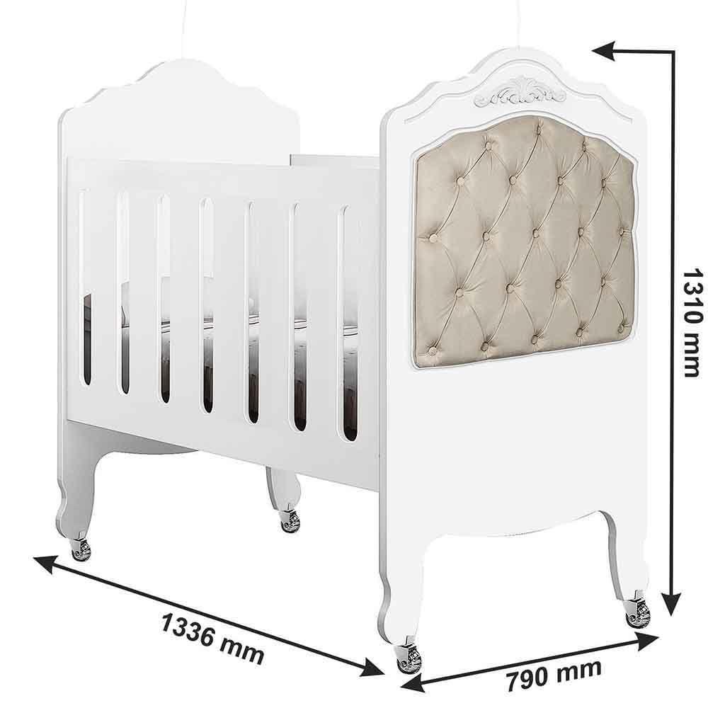 Quarto de Bebê Provence Com Guarda Roupa + Cômoda + Berço Mini Cama + Colchão - Planet Baby