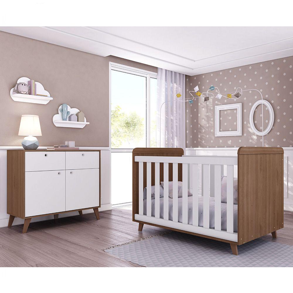 Quarto de Bebê Retrô com Cômoda + Berço  Multimóveis