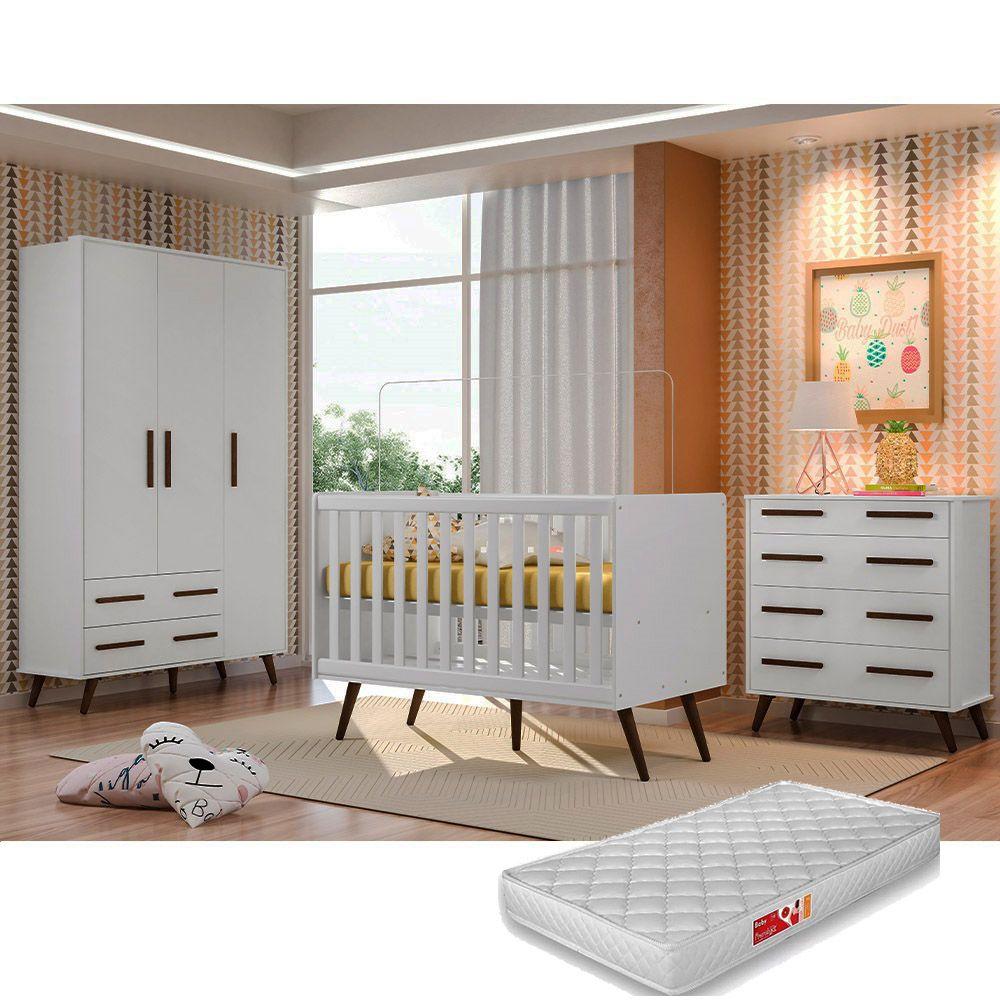 Quarto De Bebê Retrô com Guarda Roupa + Cômoda + Berço + Colchão - Qmovi