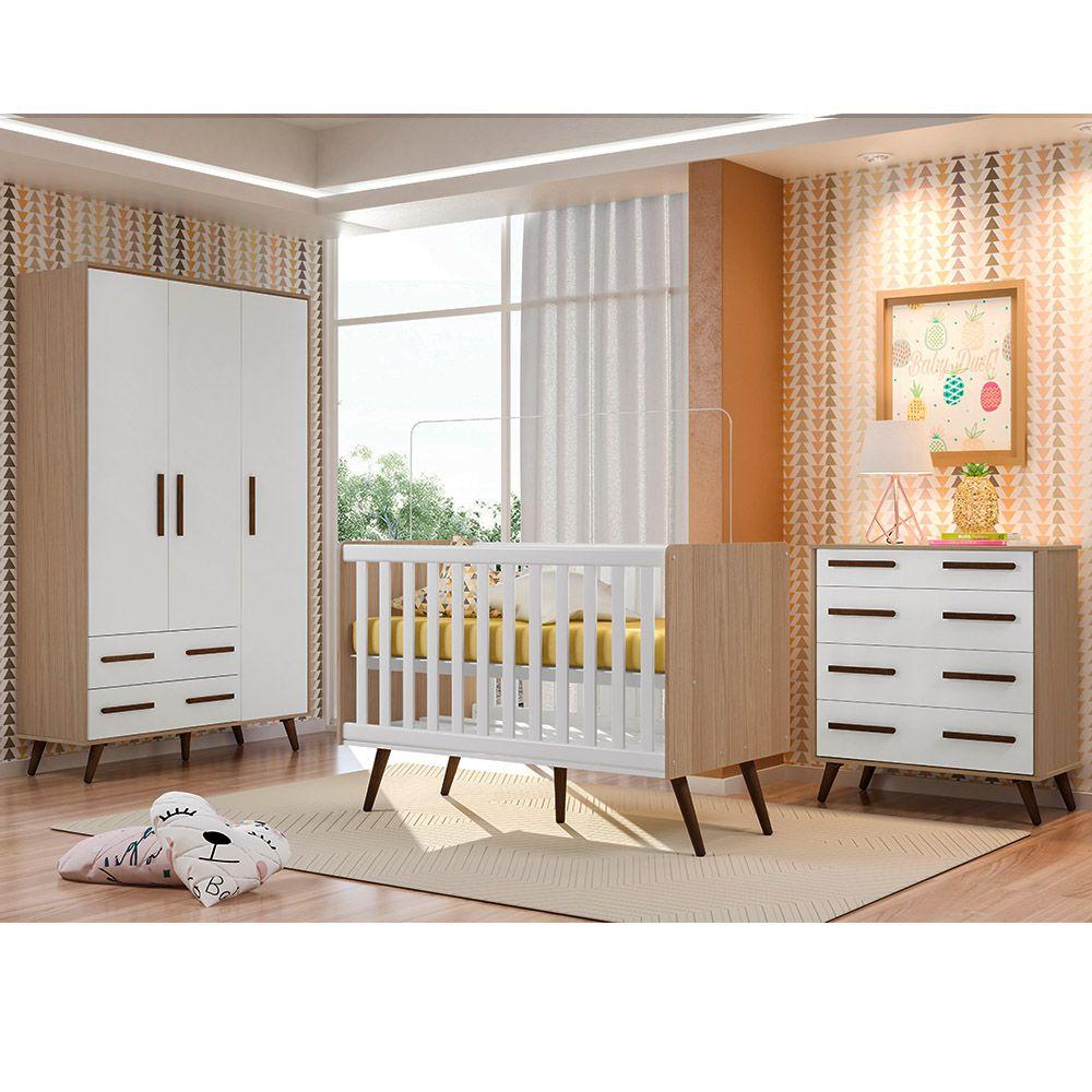 Quarto De Bebê Retrô com Guarda Roupa + Cômoda + Berço - Qmovi