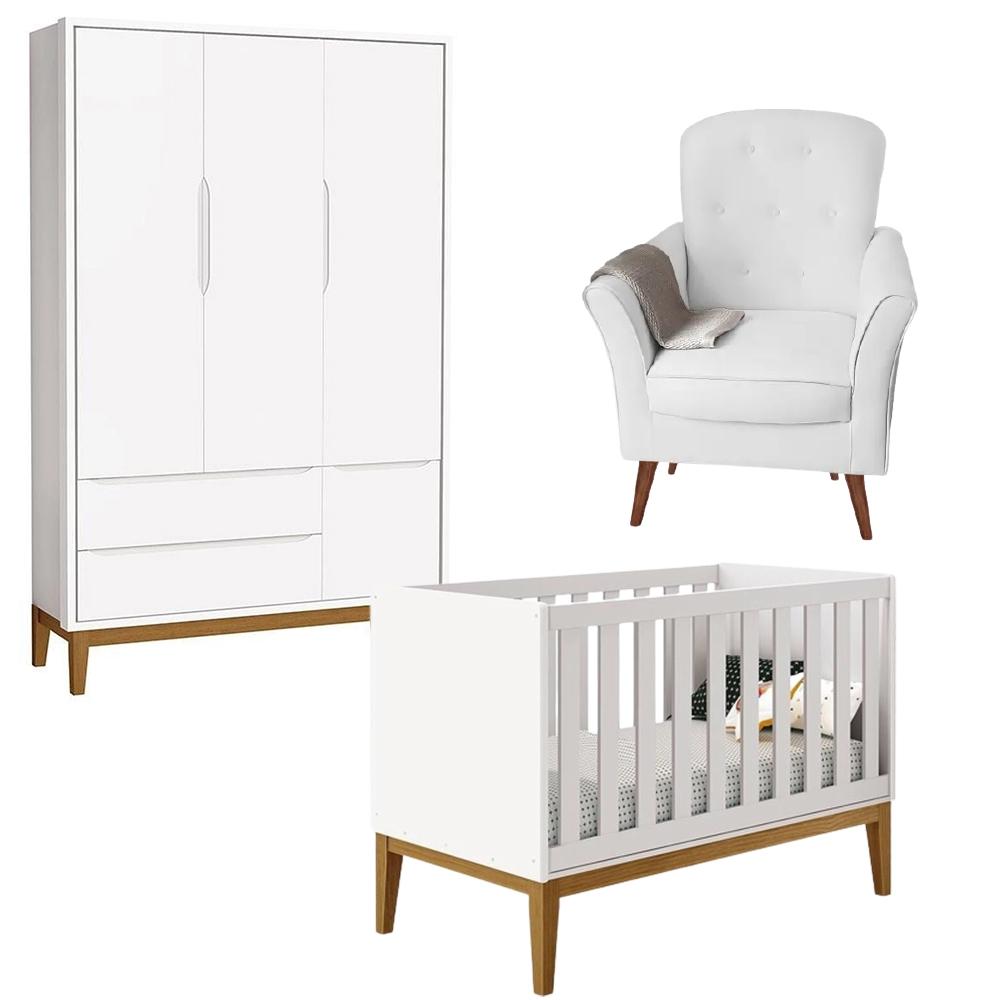Quarto de Bebê Theo Classic Guarda Roupa 3 Portas, Berço Mini Cama e Poltrona de Amamentação - Reller