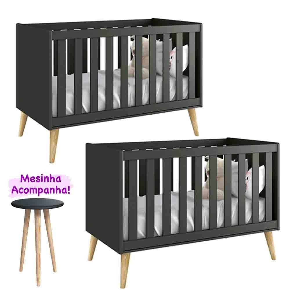 Quarto de Bebê Theo Retro Com 2 Berço  Kit Gêmeos - Reller