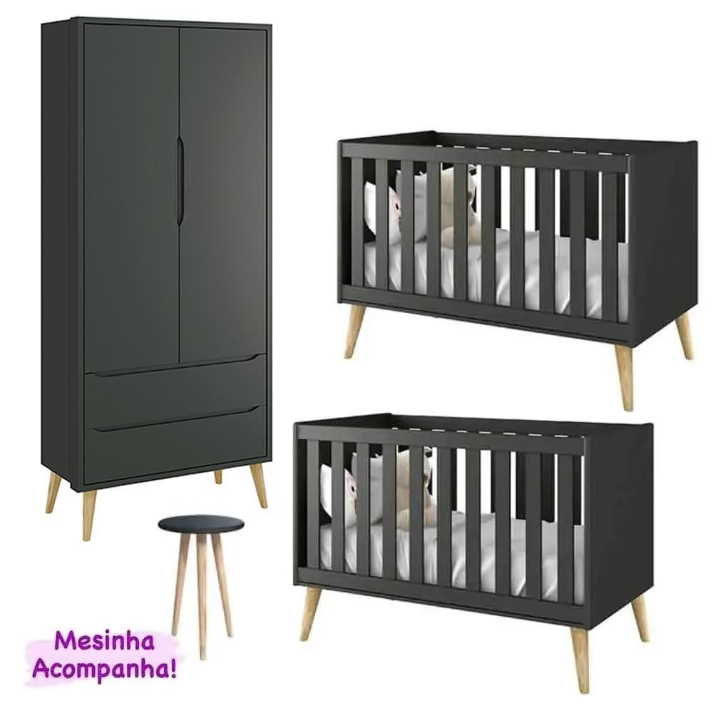 Quarto de Bebê Theo Retro Com Guarda Roupa 2 Portas + Berço - Kit Gêmeos - Reller