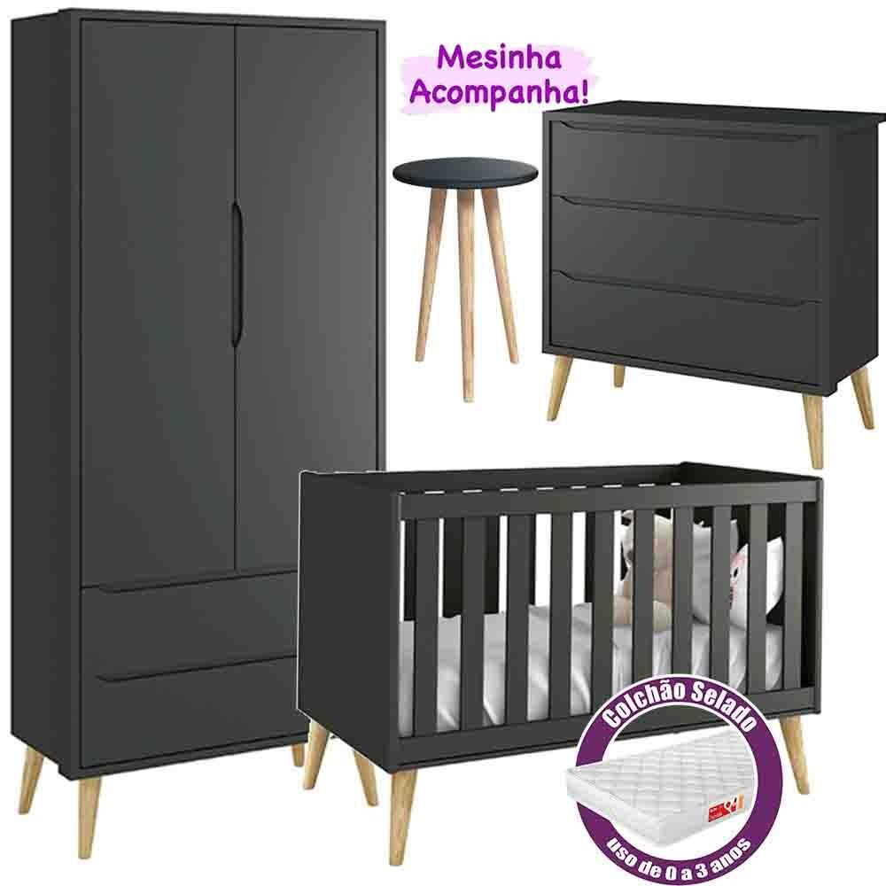 Quarto de Bebê Theo Retro Com Guarda Roupa 2 Portas + Cômoda + Berço + Colchão - Reller