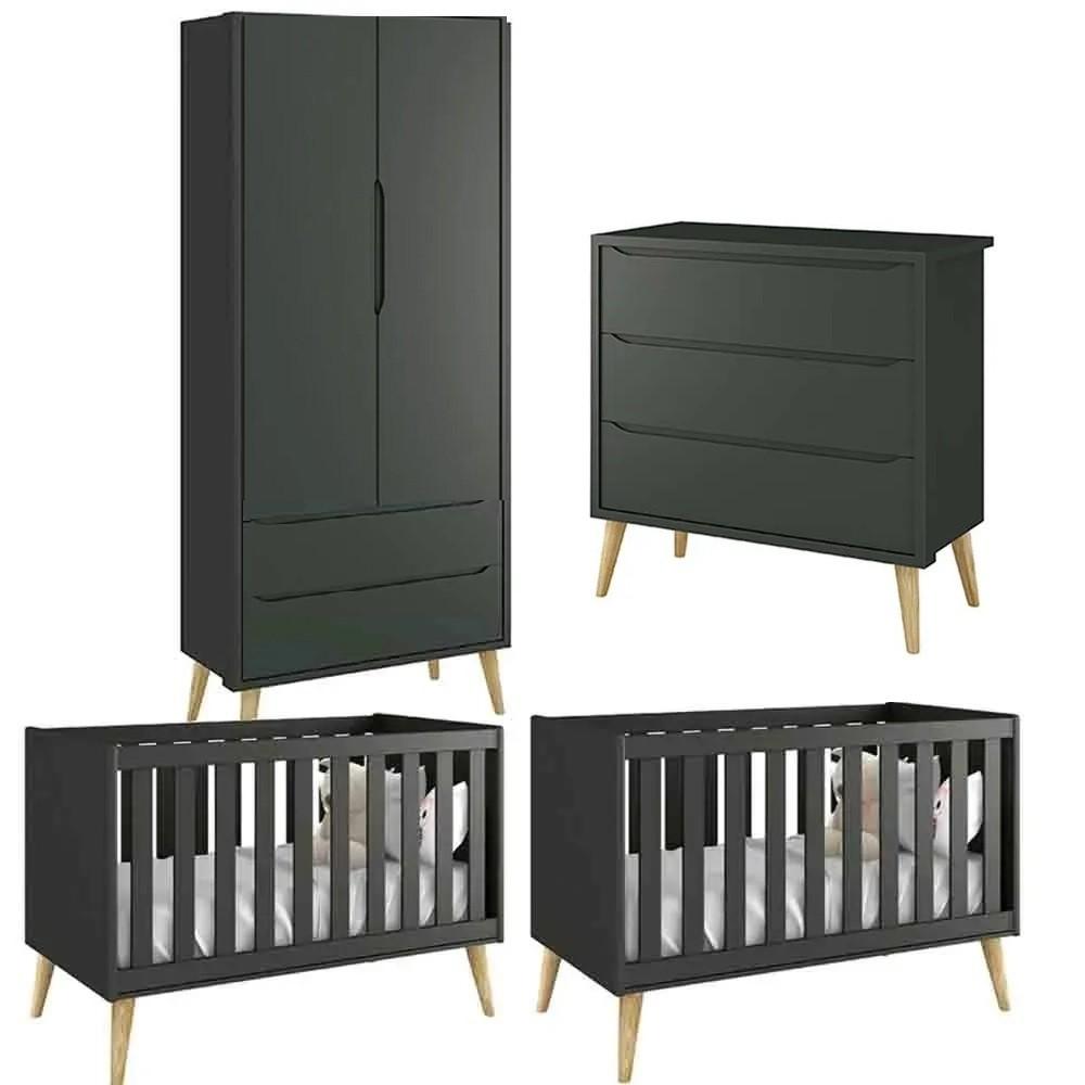 Quarto de Bebê Theo Retro Com Guarda Roupa 2 Portas + Cômoda + Berço - Kit Gêmeos - Reller