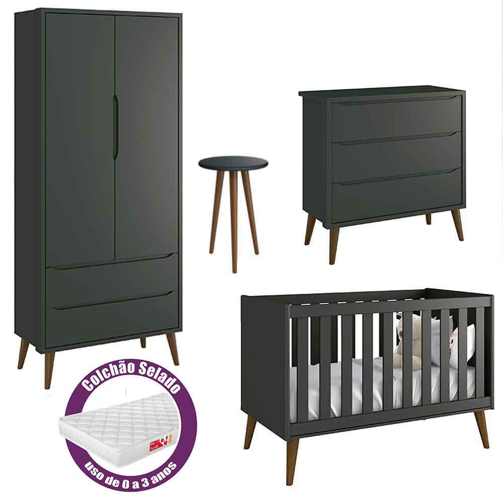 Quarto de Bebê Théo Retrô Com Guarda Roupa 2 Portas + Cômoda + Berço  + Mesa + Colchão - Reller