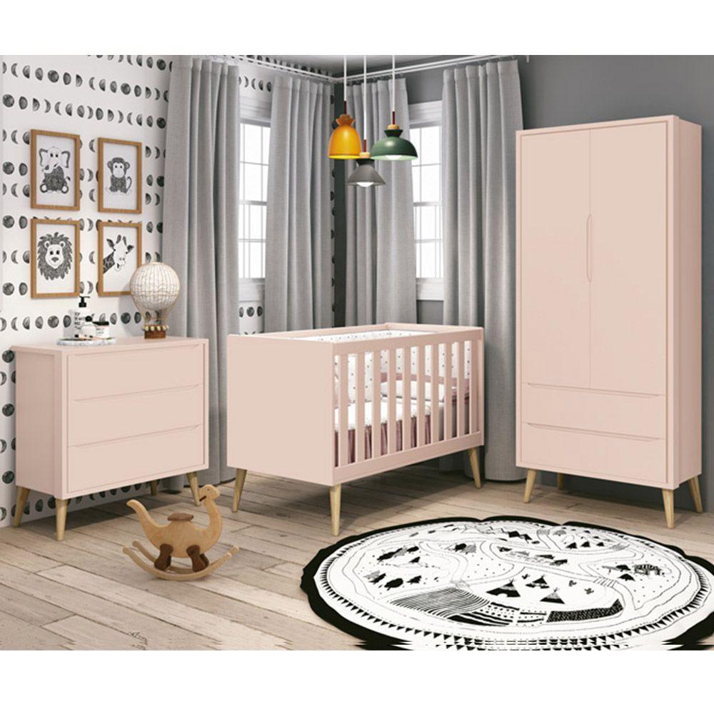 Quarto de Bebê Théo Retrô Com Guarda Roupa 2 Portas + Cômoda + Berço - Reller