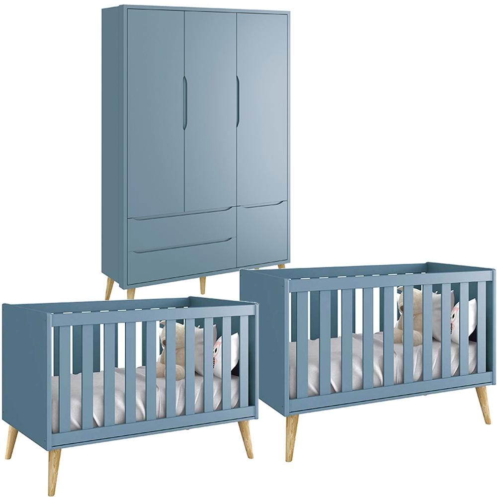 Quarto de Bebê Théo Retrô Com Guarda Roupa 3 Portas + Berço Kit Gêmeos -  Reller