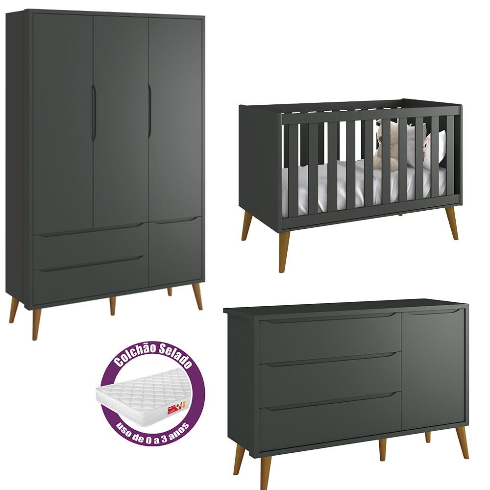 Quarto de Bebê Théo Retrô Com Guarda Roupa 3 Portas + Cômoda Sapateira + Berço + Colchão - Reller