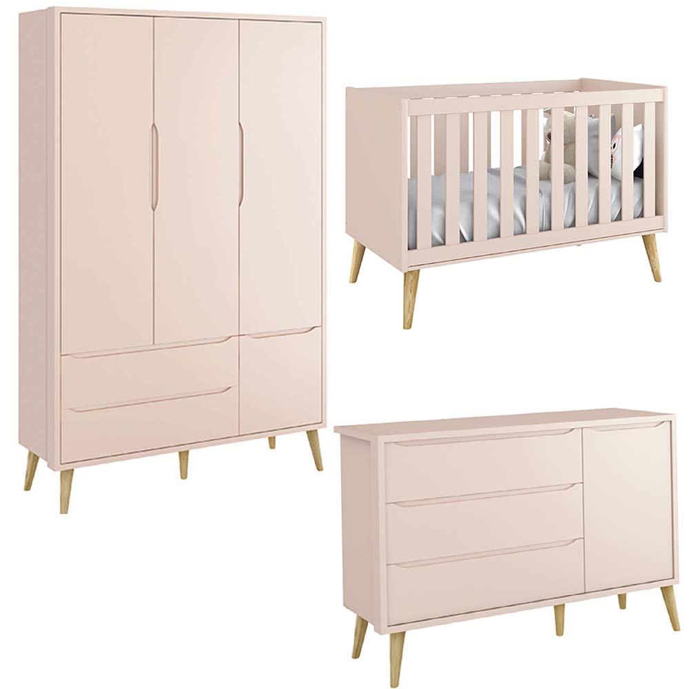 Quarto de Bebê Théo Retrô Com Guarda Roupa 3 Portas + Cômoda Sapateira + Berço - Reller