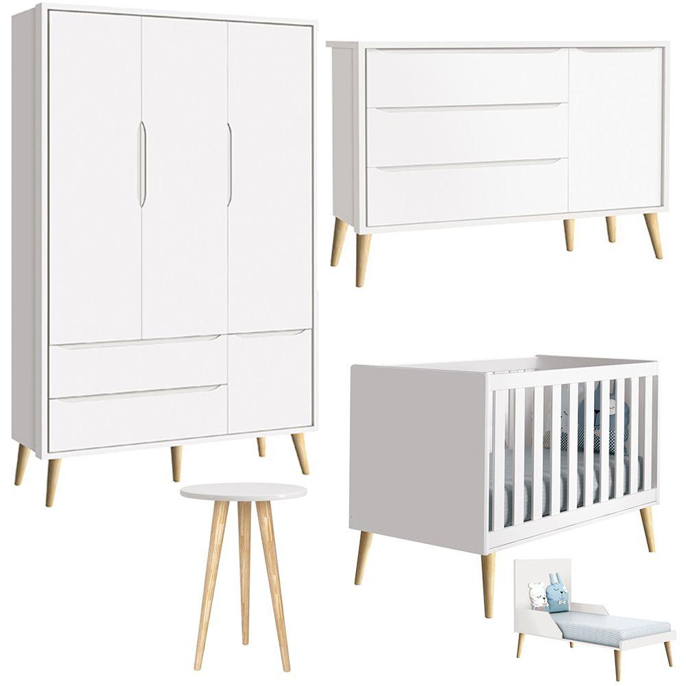 Quarto de Bebê Théo Retrô Com Guarda Roupa + Cômoda + Berço - Branco -  Reller
