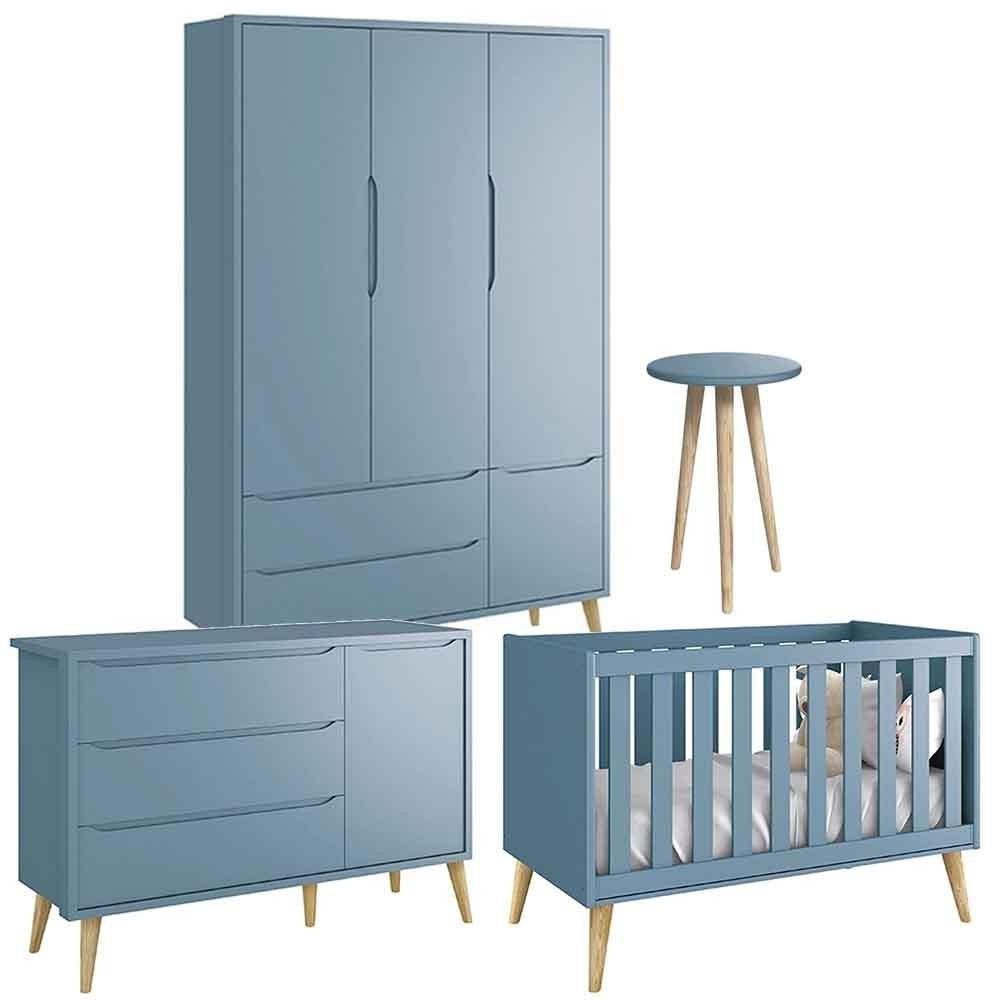 Quarto de Bebê Théo Retrô Com Guarda Roupa 3 Portas + Cômoda + Berço + Mesa Pés Natural -  Reller