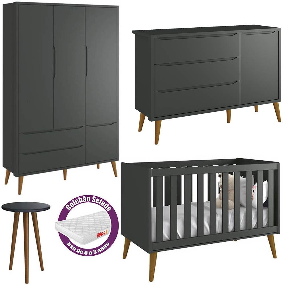 Quarto de Bebê Théo Retrô Com Guarda Roupa + Cômoda + Berço + Mesinha + Colchão - Reller