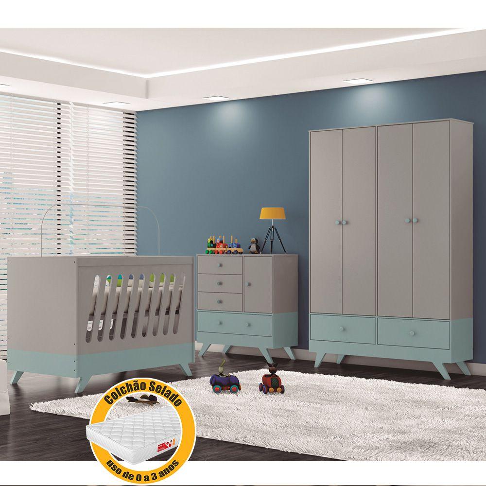 Quarto de Infantil Duda com Guarda Roupa + Cômoda + Berço Cinza Acetinado/Azul + Colchão - Canaã Baby