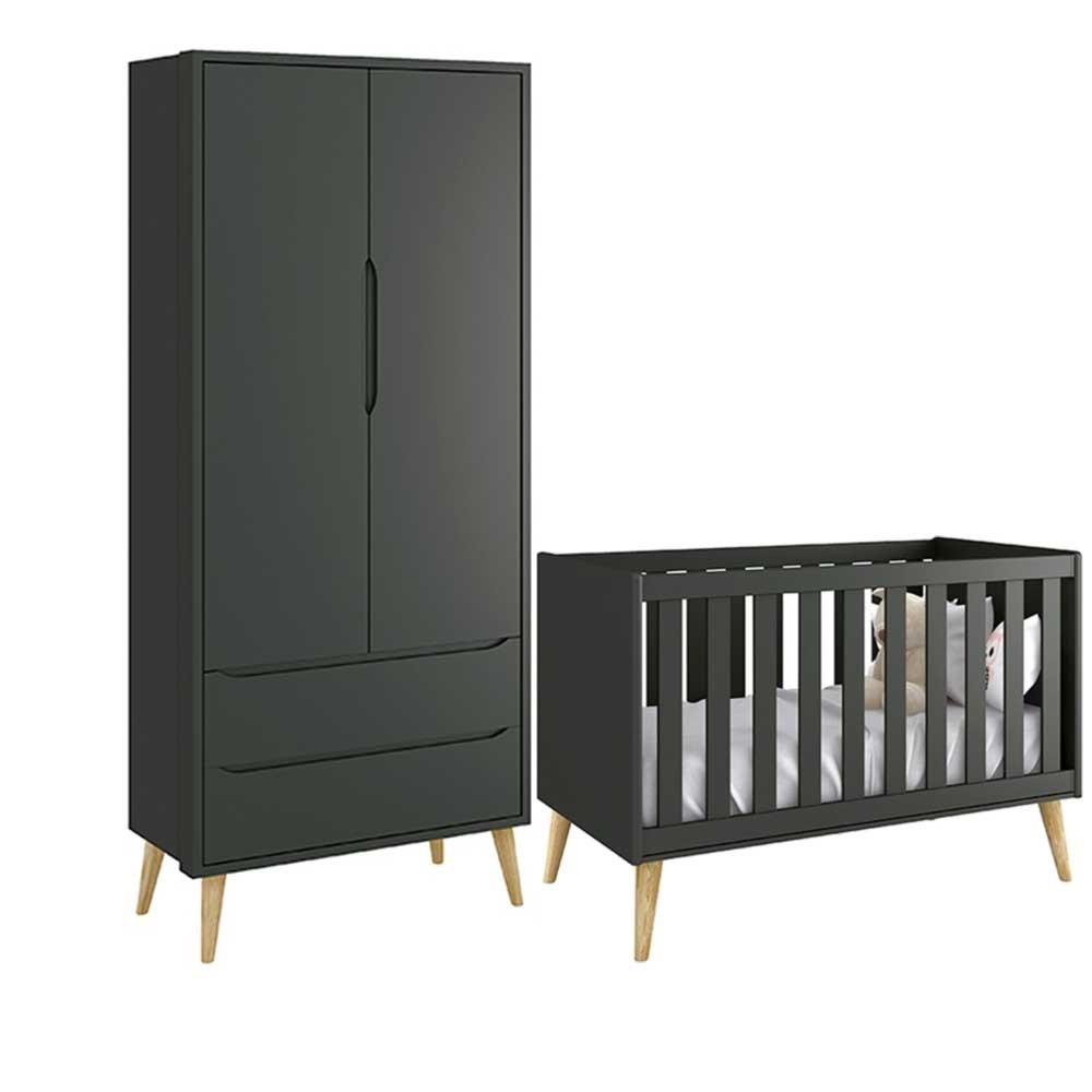 Quarto de Infantil Theo Retro Com Guarda Roupa 2 Portas + Berço Mini Cama - Reller