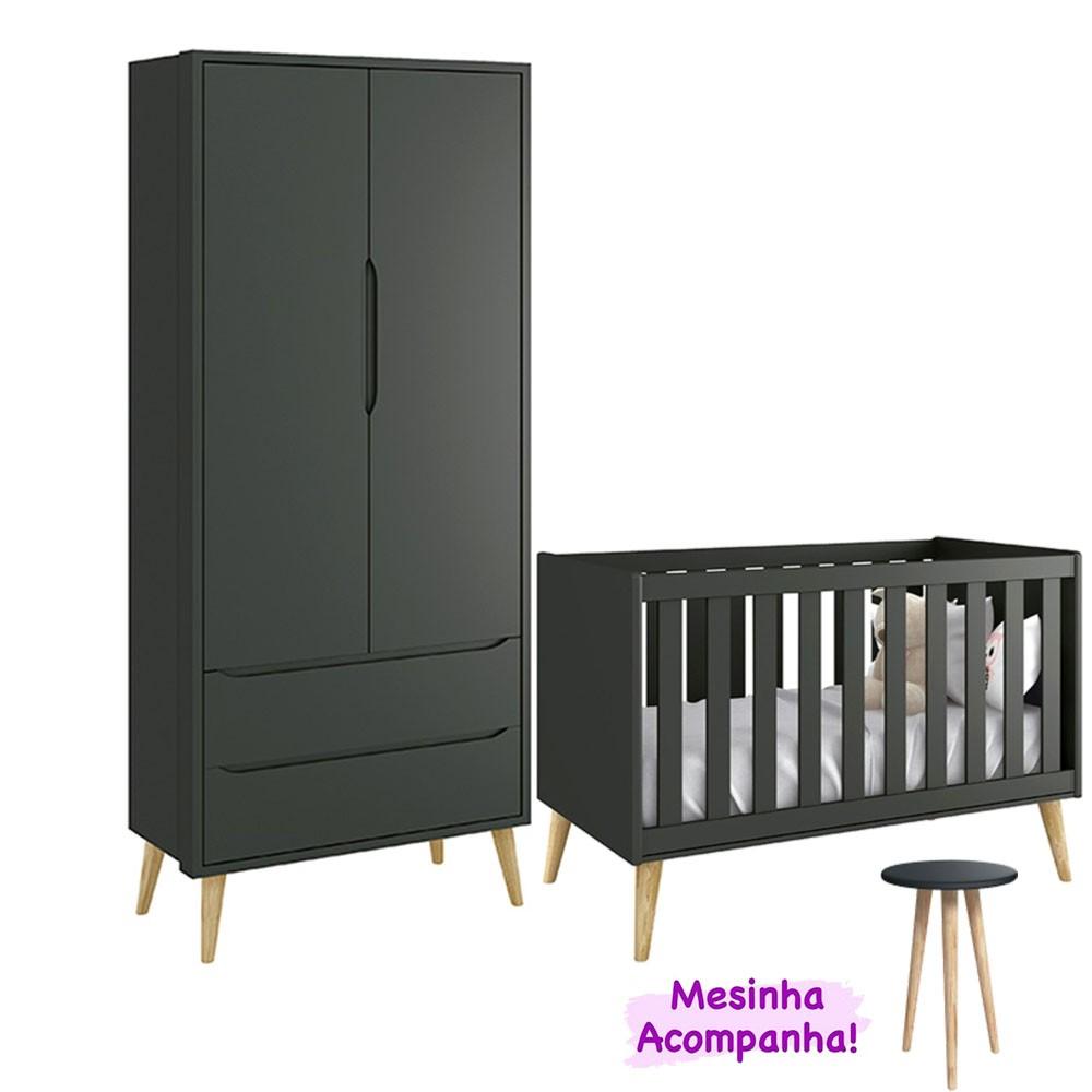 Quarto de Infantil Theo Retro Com Guarda Roupa 2 Portas + Berço - Reller