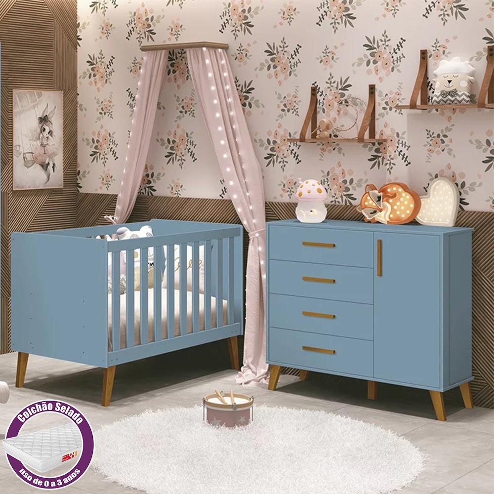 Quarto Infantil com Berço Com Colchão e Cômoda Retrô Ayla Azul Fosco  - Reller Móveis