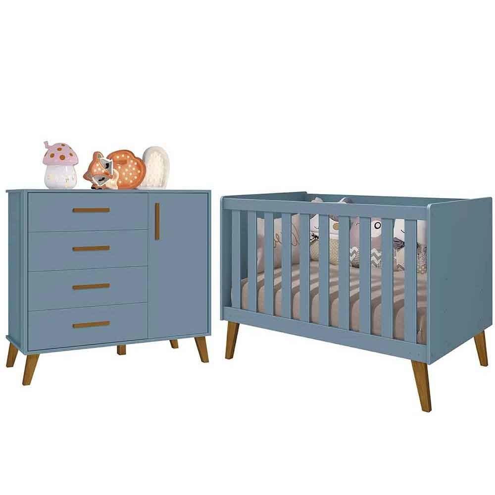Quarto Infantil com Berço e Cômoda Retrô Ayla Azul Fosco  - Reller
