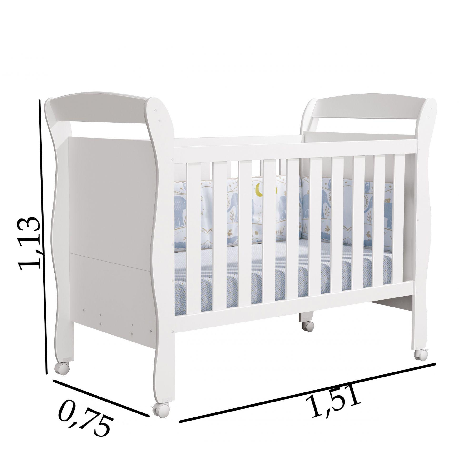 Quarto Infantil com Berço João + Guarda Roupa 4 Portas Livia  + Colchão - Phoenix Baby