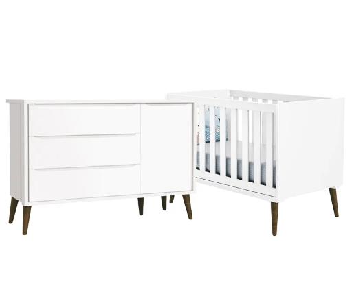 Quarto Infantil com Berço Mini Cama e Cômoda Sapateira Retrô Théo Branco Fosco - Reller Móveis