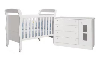 Quarto Infantil com Berço Sophia e Cômoda Joãozinho Branco Brilhoso - Reller Móveis