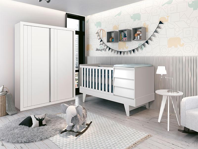 Quarto Infantil Com Guarda Roupa 2  Portas de Correr e Berço Cama Multifuncional Prince Branco Fosco   - Reller Móveis