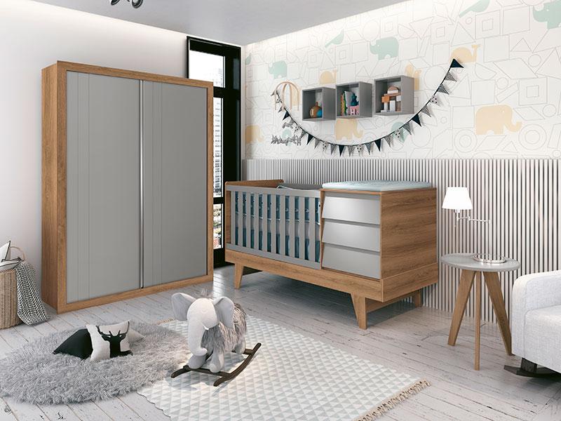Quarto Infantil Com Guarda Roupa 2  Portas de Correr e Berço Cama Multifuncional Prince Cinza Fosco e Mezzo Fosco  - Reller Móveis