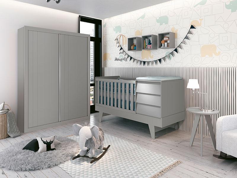 Quarto Infantil Com Guarda Roupa 2  Portas de Correr e Berço Cama Multifuncional Prince Cinza Fosco - Reller Móveis