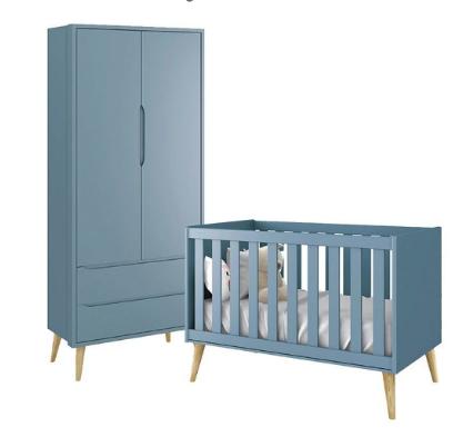 Quarto Infantil com Guarda Roupa 2 Portas e Berço Mini Cama Retrô Pés Madeira Natural Théo Azul Fosco  – Reller Móveis