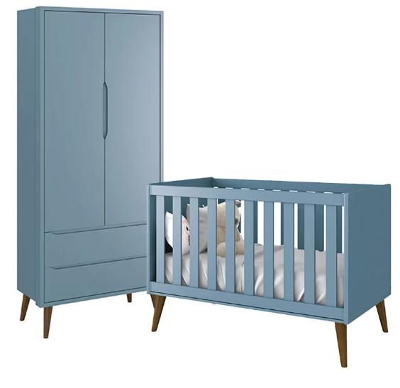 Quarto Infantil com Guarda Roupa 2 Portas e Berço Mini Cama Retrô Théo  Azul Fosco – Reller Móveis