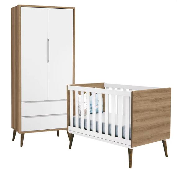 Quarto Infantil com Guarda Roupa 2 Portas e Berço Mini Cama Retrô Théo  Branco e Mezzo Fosco – Reller Móveis