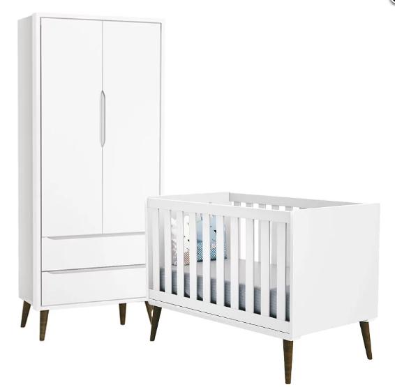Quarto Infantil com Guarda Roupa 2 Portas e Berço Mini Cama Retrô Théo  Branco Fosco – Reller Móveis