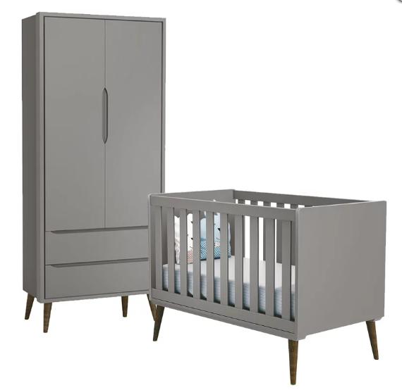 Quarto Infantil com Guarda Roupa 2 Portas e Berço Mini Cama Retrô Théo  Cinza Fosco – Reller Móveis