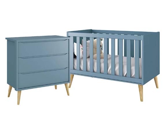 Quarto Infantil com Berço Mini Cama 2 em 1 e Cômoda Gaveteiro Pés Madeira Natural Retrô  Théo  – Reller Móveis