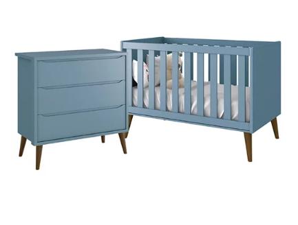Quarto Infantil com Berço Mini Cama 2 em 1  e Cômoda Gaveteiro Retrô  Théo Azul Fosco – Reller Móveis