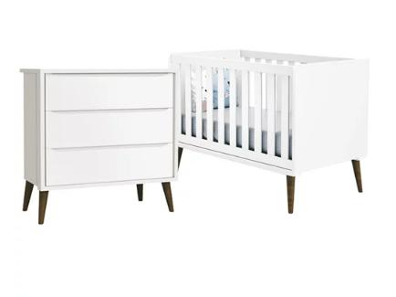 Quarto Infantil com Berço Mini Cama 2 em 1  e Cômoda Gaveteiro Retrô  Théo Branco Fosco – Reller Móveis