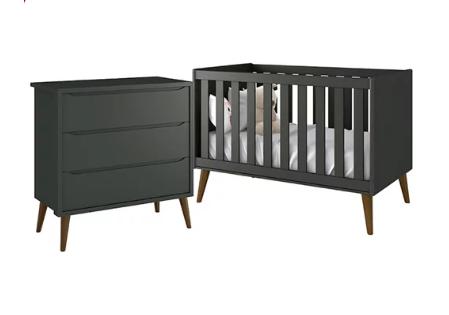 Quarto Infantil com Berço Mini Cama 2 em 1 e Cômoda Gaveteiro Retrô  Théo Grafite Fosco – Reller Móveis