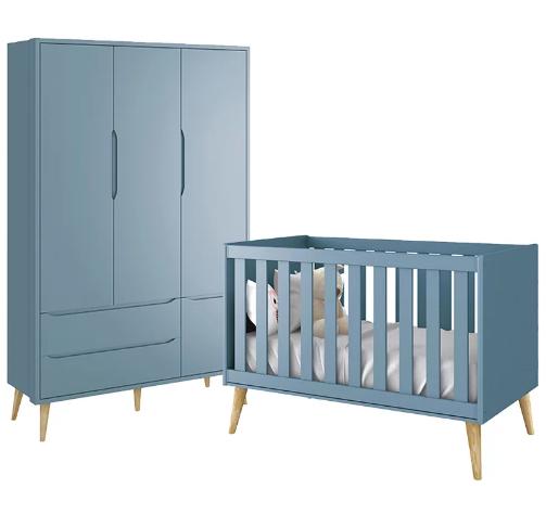Quarto Infantil com Guarda Roupa 3 Portas e Berço Mini Cama Retrô Pés Madeira Natural Théo Azul Fosco - Reller Móveis