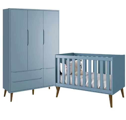 Quarto Infantil com Guarda Roupa 3 Portas e Berço Mini Cama Retrô Théo Azul Fosco - Reller Móveis