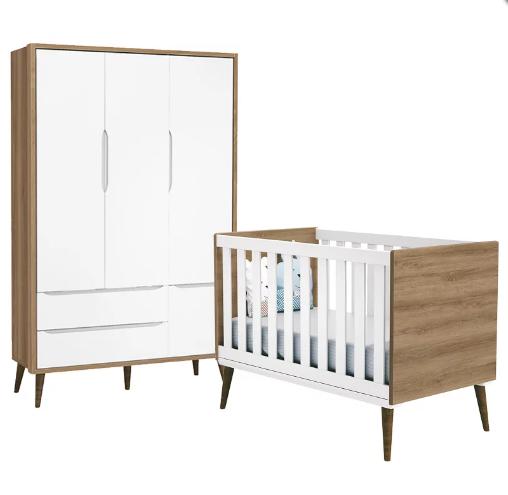Quarto Infantil com Guarda Roupa 3 Portas e Berço Mini Cama Retrô Théo Branco e Mezzo Fosco - Reller Móveis