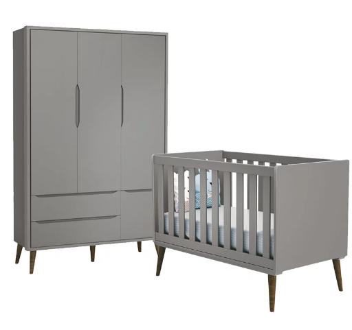 Quarto Infantil com Guarda Roupa 3 Portas e Berço Mini Cama Retrô Théo Cinza Fosco - Reller Móveis