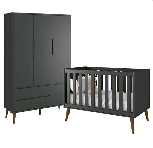 Quarto Infantil com Guarda Roupa 3 Portas e Berço Mini Cama Retrô Théo Grafite Fosco - Reller Móveis