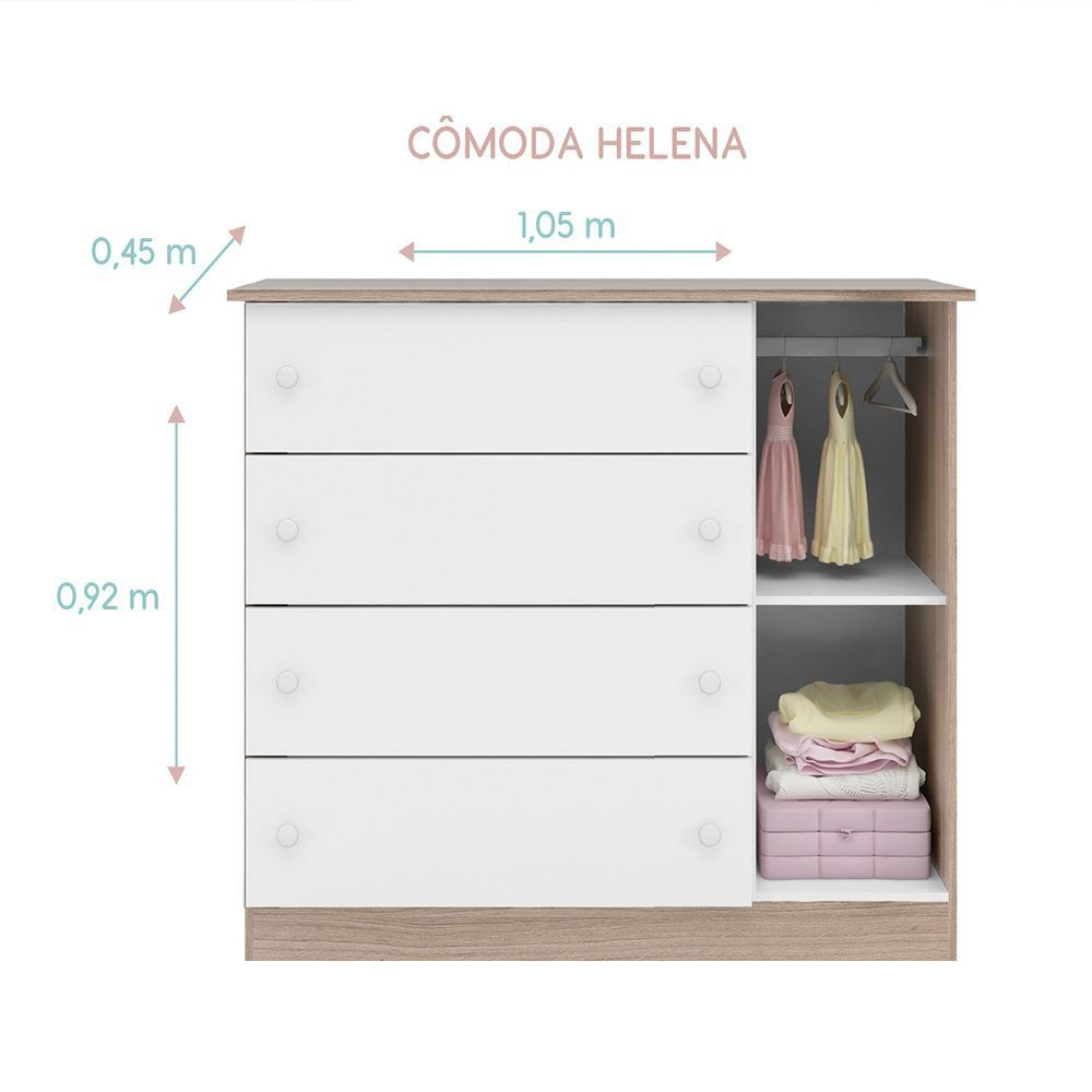 Quarto Infantil com Guarda Roupa 4 Portas + Cômoda  Helena + Cama Montessoriano Crytal - Phoenix