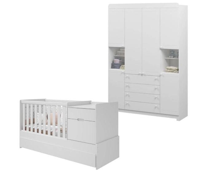 Quarto Infantil Com Guarda Roupa 6  Portas e Berço Cama com Cômoda Multifuncional Vitória Branco Fosco - Reller Móveis