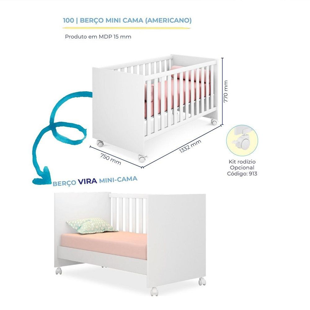 Quarto Infantil Com Guarda Roupa + Cômoda + Berço 100 - Branco - Qmovi